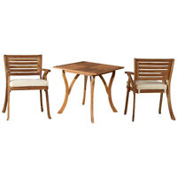 Teak Oiled Outdoor Patio 3 Piece Dining Set with Cushions - New! Exclusive!