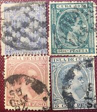 4  SELLOS  CUBA DESDE 1876 ALFONSO XII Y XIII
