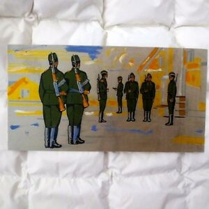 1970s Soviet Russian USSR SOLIDERS Changing of the GUARDS Painting Poster RUSSIA