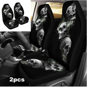 2x Car Front Seat Cover Skull Pattern Breathable Pad For Interior Accessories