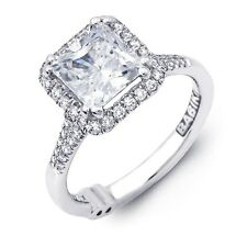 Beautiful Designer Princess Asscher Cut Diamond Semi Mount Halo Design; PLATINUM