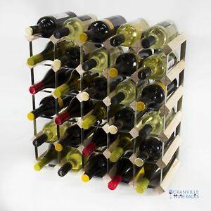 Cranville wine rack storage 30 bottle pine wood and metal wine rack assembled