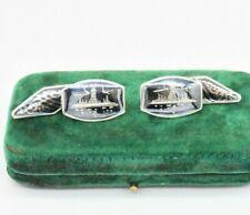 Vintage Men Sterling Silver Cufflinks Siam enamel Art Deco Peaky Blinders #R668