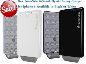 NEW POWERSKIN POP'N APPLE IPHONE 5 HYBRID BATTERY CHARGER 2000mAh BLACK/WHITE