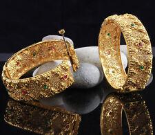 Indian Bollywood Ethnic 2pc Gold Tone Ruby Green Polki Bangle Bracelet Kada Set
