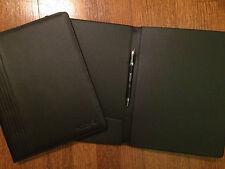 Qatar Airways Black Leather Notepad Folio with logo
