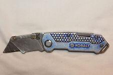 KOBALT Utility Knife Box Cutter Blue Metal Handles w/Belt Clip, worn (UDBC443)