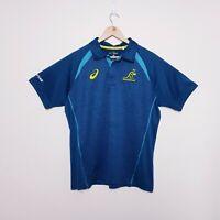 Wallabies Asics Mens Size XL Blue Player Gear Polo Shirt