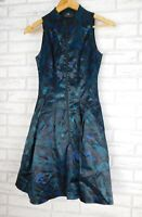 Cue Fit & Flare statement dress sz 6, exposed zip sleeveless Black blue green