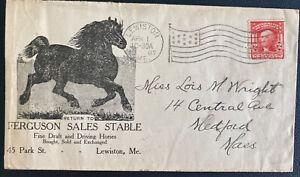 1907 Lewinston ME USA Advertising Cover To Medford Ferguson Sales Stable