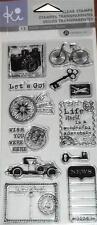 KI HAMPTON ART Clear Stamps LET'S GO TRAVEL Camera Plane Car Bike Key Stamps