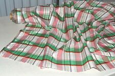 "Silk Cotton Voile Rose Plaid w/ Metallic 44"" Wide Fabric by the Yard"