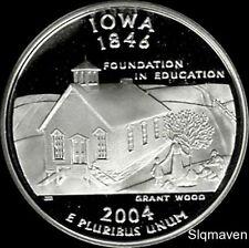 2004 S 90% Silver Iowa State Quarter Deep Cameo Gem Proof No Reserve
