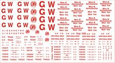 MODELMASTER GW303 GWR 1923-47. RED NUMBERS & LETTERS OO WAGON DECALS / TRANSFERS