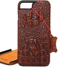genuine real leather Case for apple iphone 7 hard cover brown crocodile Design
