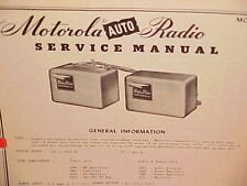 1950 MOTOROLA AUTO CAR AM RADIO FACTORY SERVICE SHOP REPAIR MANUAL MODEL 800