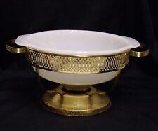 Gold Tone Metal Chafing Dish Holder W Fire King Milk Glass Baking Dish 1 1/2 Qt
