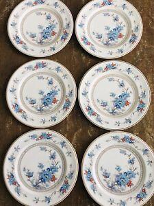 "Set Of 6 Vintage Noritake Versatone BLEUFLEUR 10-1/2"" Dinner Plates EUC"