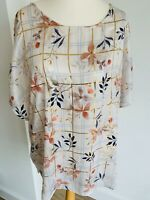 Per Una Plus Size 22 White Satin Floral Blouse Gold Check Boxy Elegant Silky Top