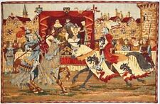 "MEDIEVAL JOUST 29"" X 19"" FULLY LINED BELGIAN TAPESTRY WALL HANGING"