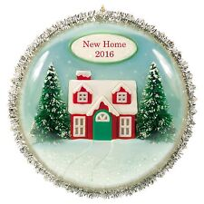 New Home 2016 Hallmark Ornament - Christmas Tree  House  Snow  Tinsel  Red Green