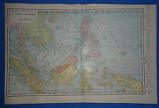 Vintage 1909 Large East Indies Map ~ Old Antique Original Atlas Map 111318