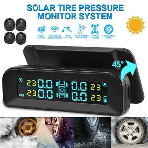 Wireless Car Tire Pressure Monitor Temp Alarm System USB & Solar Charging Port