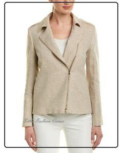 RRP €599✨MAX MARA Twill LINEN Zipped Jacket   USA14_ GB16_IT48_ FR46_ DE44