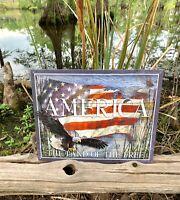 America Land of Free Metal Tin Sign Wall Decor Vintage Garage Art Gift Under $20