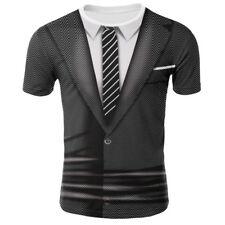 Mens Funny 3D Suit Print Tuxedo T Shirt Gothic Tee Punk Creative Tops Crew Neck