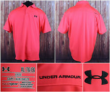 Under Armour Fluorescent Orange S/S Athletic Polo Shirt Size XL Loose Heat Gear