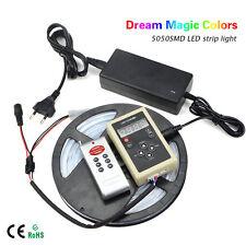KIT 5M Dream Magic Colors 5050 RGB LED Strip light 12V + RF Remote + 5A Power