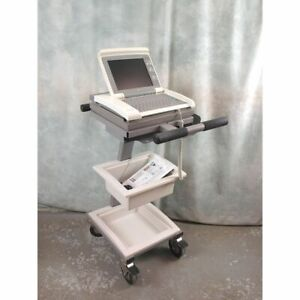 GE Healthcare 12SL Marquette MAC 5000 ECG Machine on trolley with leads