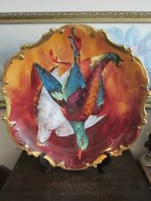 """Limoges Coronet France Handpainted Charger Plate Birds Signed A. Broussillon 16"""""""