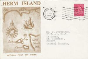 GB  GUERNSEY HERM ISLAND COVER 1969 + LOCAL STAMP ON REVERSE