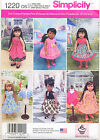 """SIMPLICITY SEWING PATTERN 1220 18"""" DOLL CLOTHES - 6 STYLES DRESSES, JACKET SHAWL"""