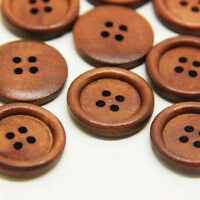 50pcs Wooden Dark Brown Round Sewing 4 Hole Buttons Prof