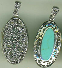 925 Sterling Silver Turquoise & Marcasite Oval Locket Pendant 2 sided L 1.1/2""