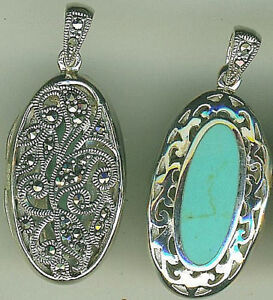 """925 Sterling Silver Turquoise & Marcasite Oval Locket Pendant 2 sided L 1.1/2"""""""