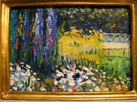 Impressionist Oil Painting Art Flower Garden Miniature Landscape Artist Unknown