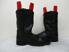Justin Black Leather Roper Cowboy Boots Womens Size 8 B Style L3703 Mexico