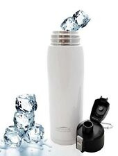 Aquatix White Insulated FlipTop Sport Bottle 21 ounce Pure Stainless Steel