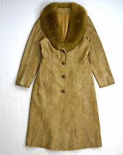 Vintage 70s Retro Brown Leather Shearling Collar AMBE Long Trench Coat Jacket S