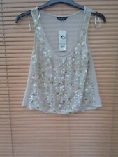 BNWT miss selfridge  neutral shimmery vest top with embelishment