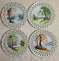 "Ucagco China Decorative Lattice 4 Plates Hand Painted 7.25"" Open Rim Gold Gilded"