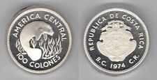COSTA RICA - SILVER PROOF 100 COLONES COIN 1974 YEAR KM#201a WILDLIFE MANATEE