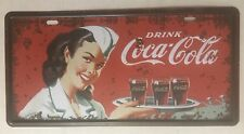 DRINK COCA COLA NOVELTY NUMBER PLATE GIRL DRINKS TRAY 50's 60's SOFT DRINK SODA
