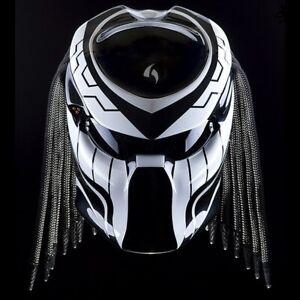 THE PREDATOR MOTORCYCLE HELMET WHITE LINE (DOT & ECE APPROVED)