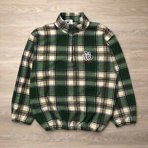 Vintage Fubu Sport Jacket Mens 2XL Green 90s Fleece Pullover Plaid