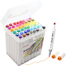 48 Color Alcohol Marker Pen Double Tipped Board & Fine Permanent Art Marker Set